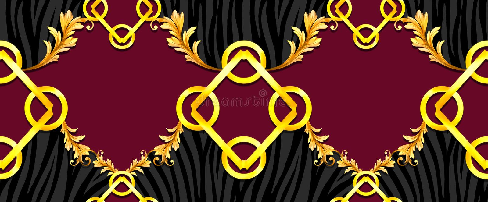 Seamless Golden Baroque with Zebra Pattern on Dark Red Background. Ready for Textile Prints. Silk Scarf Pattern.  royalty free illustration