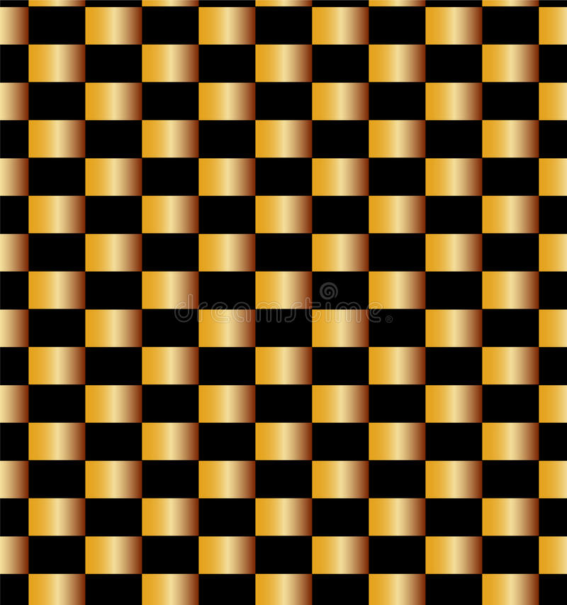 Seamless Golden Bricks Pattern on Black Background. Suitable for textile, fabric and packaging. Vector Illustration. Seamless Golden Bricks Pattern on Black stock illustration