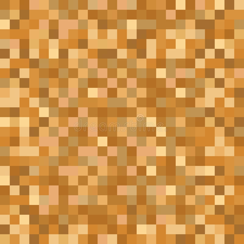 Seamless golden brown pixel mosaic pattern. Pixelated gold metal abstract texture mapping background for various digital applicati stock illustration