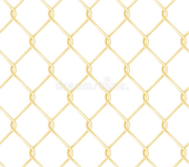 Seamless golden chain link fence pattern. Realistic wire fence vector texture. vector illustration