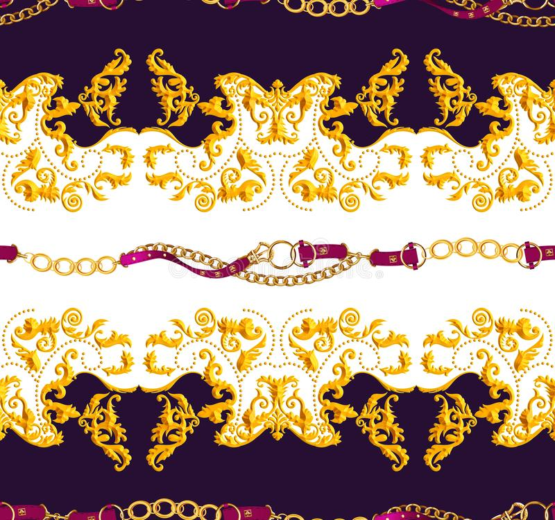 Seamless Golden Chains and Belts Pattern. Repeat Antique Decorative Baroque for Decor, Fabric, Prints, Textile. with Black and Whi. Te background. Ready for stock illustration