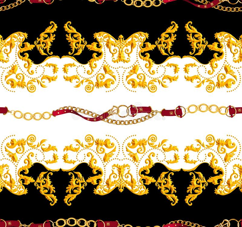 Seamless Golden Chains and Belts Pattern. Repeat Antique Decorative Baroque for Decor, Fabric, Prints, Textile. with Dark Purple a. Nd White background. Ready royalty free illustration