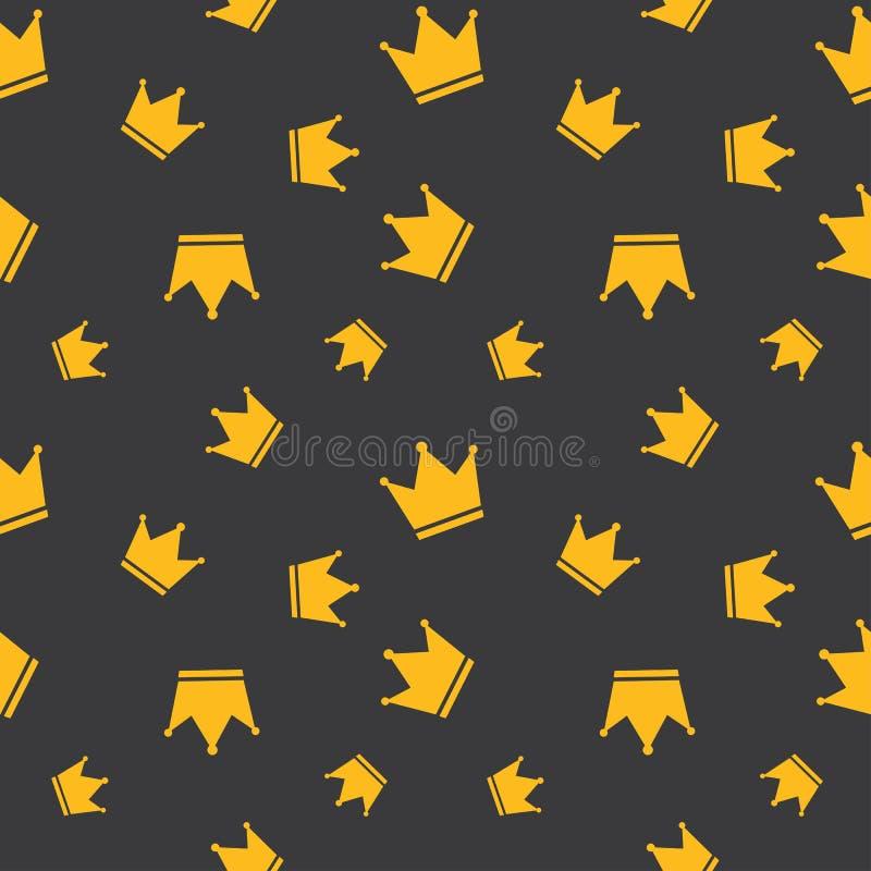 Seamless Golden Crown Background stock illustration
