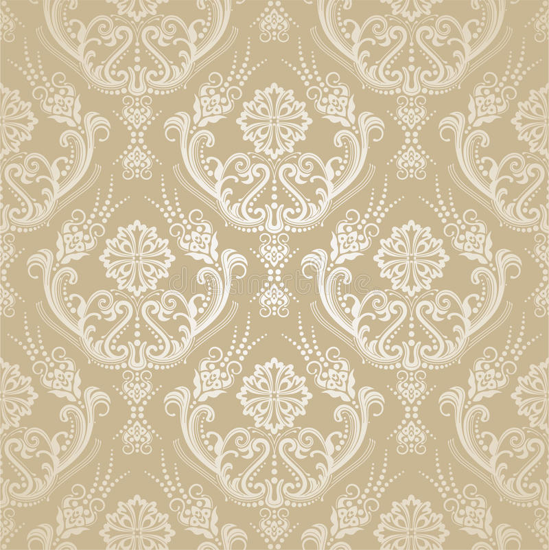 Download Seamless Golden Floral Damask Wallpaper Stock Vector