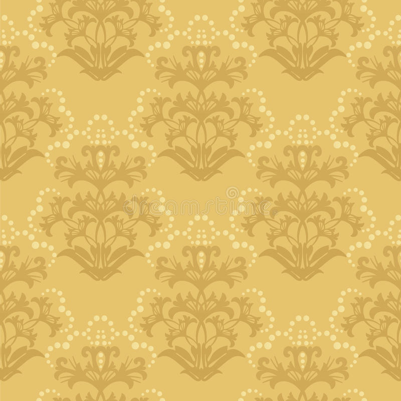 Download Seamless Golden Floral Wallpaper Stock Image - Image: 12042411