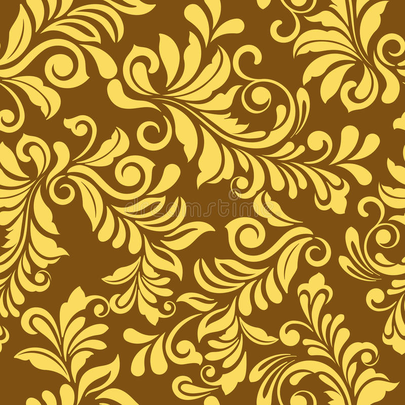 Download Seamless Golden Floral Wallpaper Pattern Stock Vector