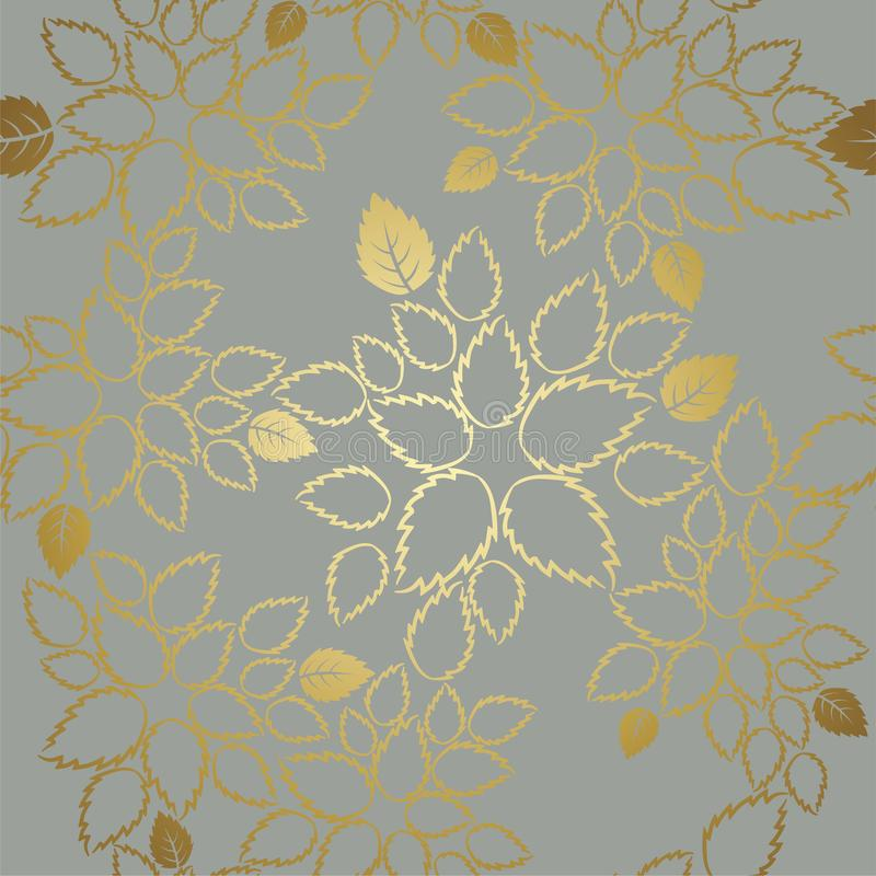 Seamless golden lace leaves pattern on grey background stock image