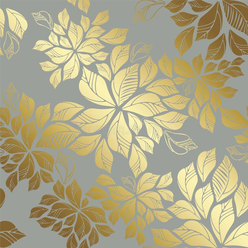 Seamless golden leaves pattern on grey background stock photos