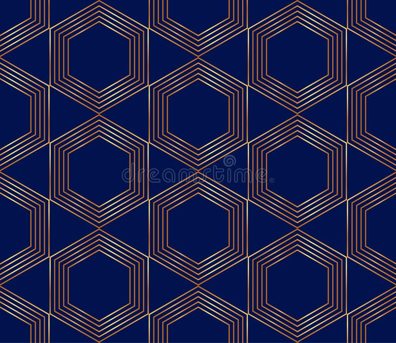 Seamless golden lines, geometric modern pattern. Hexagons on the blue background. royalty free illustration