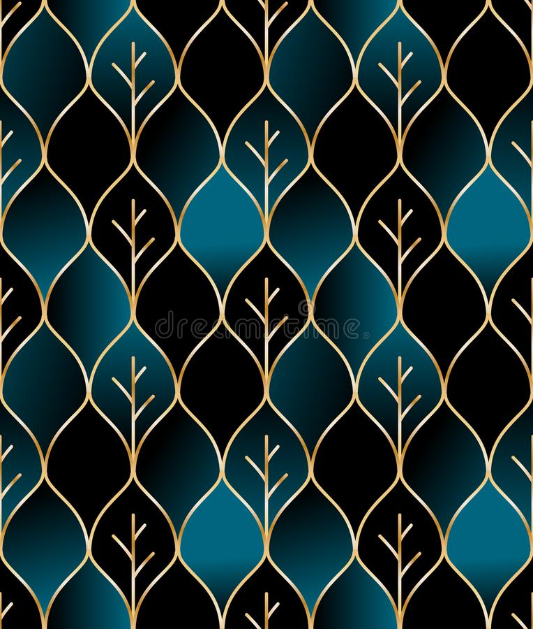 Seamless golden wire leaf oriental pattern royalty free illustration
