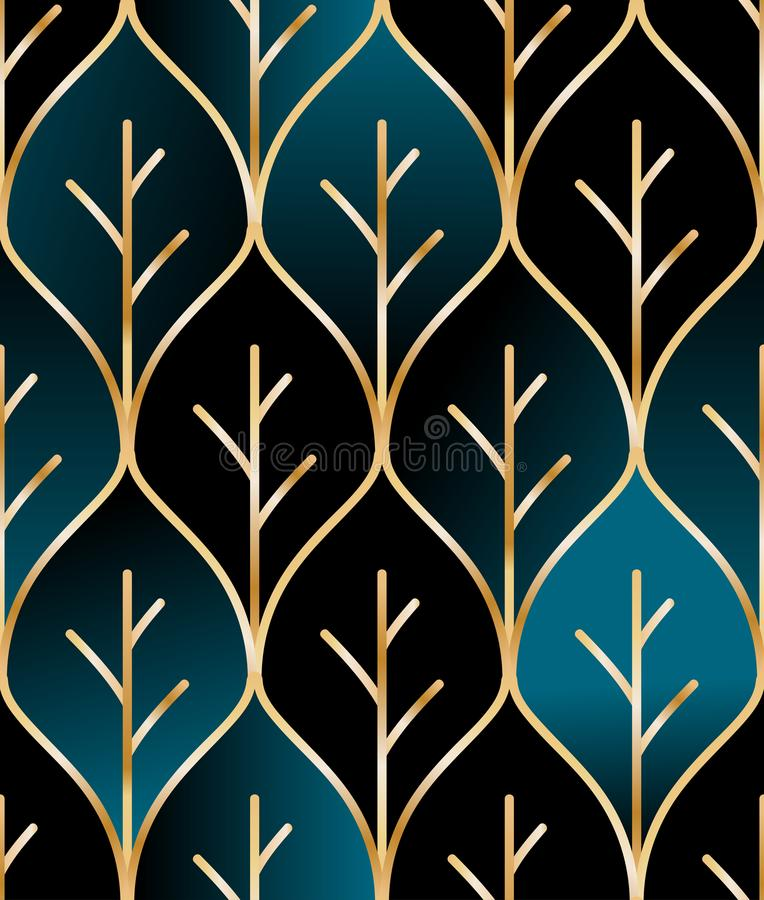 Seamless golden wire leaf oriental pattern stock illustration