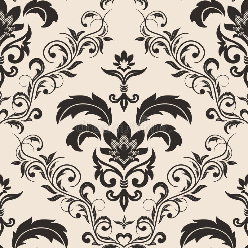 Seamless Gothic Floral Wallpaper Stock Vector Image