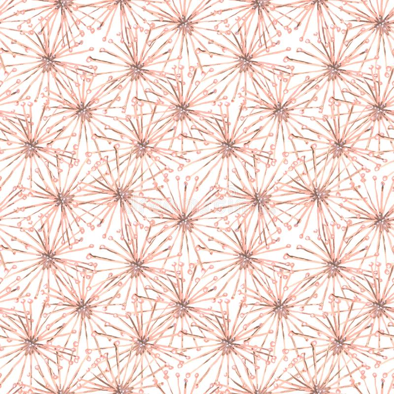 Seamless gouache spiderweb pattern from beige surreal flowers white royalty free stock photography
