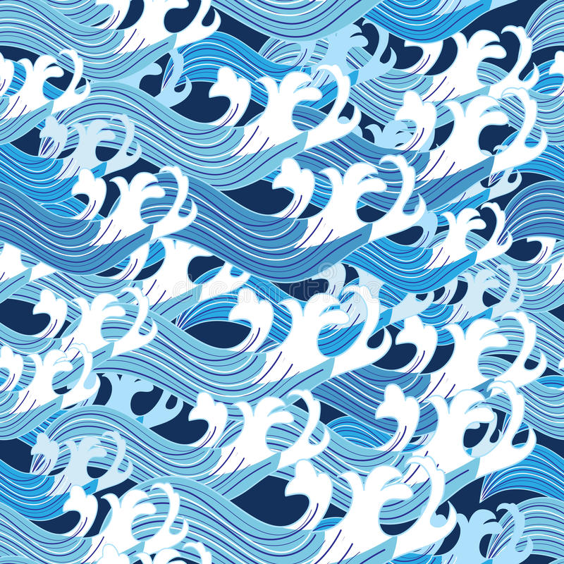 Seamless graphic pattern vector sea waves royalty free illustration