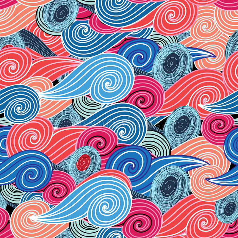 Seamless graphic pattern of waves vector illustration