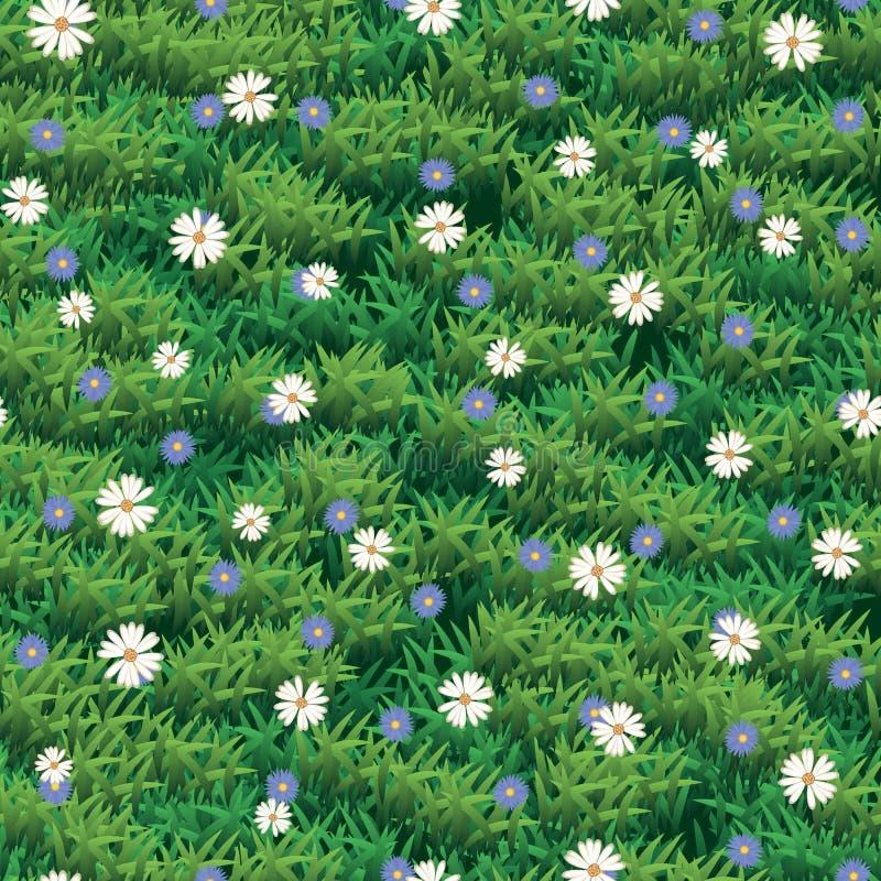 Seamless grass and flower vector texture. Green grass seamless pattern stock illustration