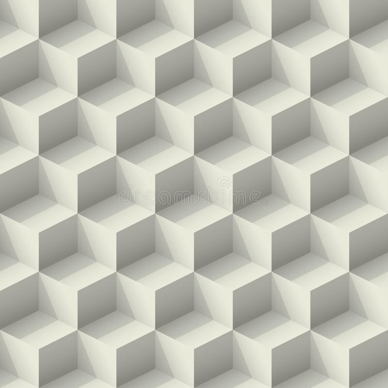 Seamless gray abstract pattern isometric cubes with light and shadow. Vintage retro realistic 3d minimal geometric shape wall royalty free illustration
