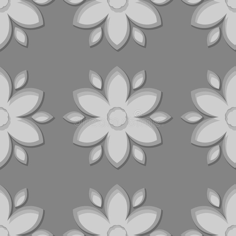 Seamless gray background with 3d floral elements royalty free illustration