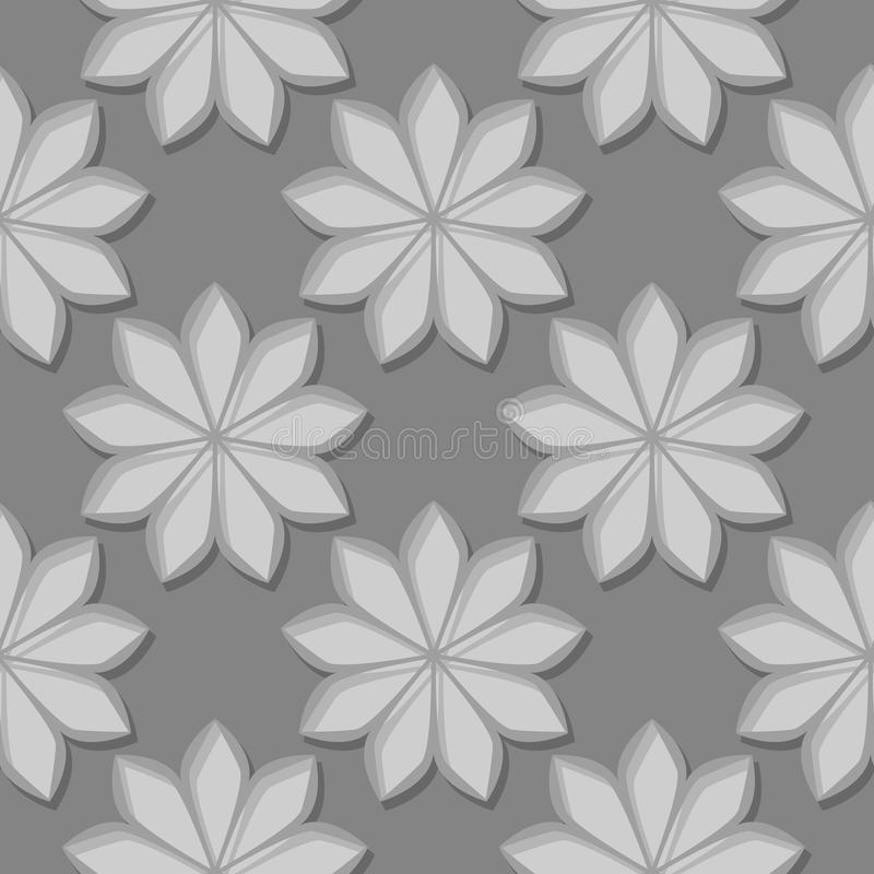 Seamless gray background with 3d floral elements vector illustration