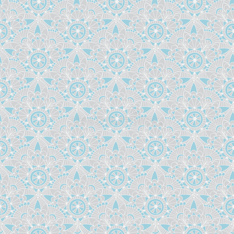Seamless gray-blue vintage pastel pattern with abstract flowers , vector stock illustration