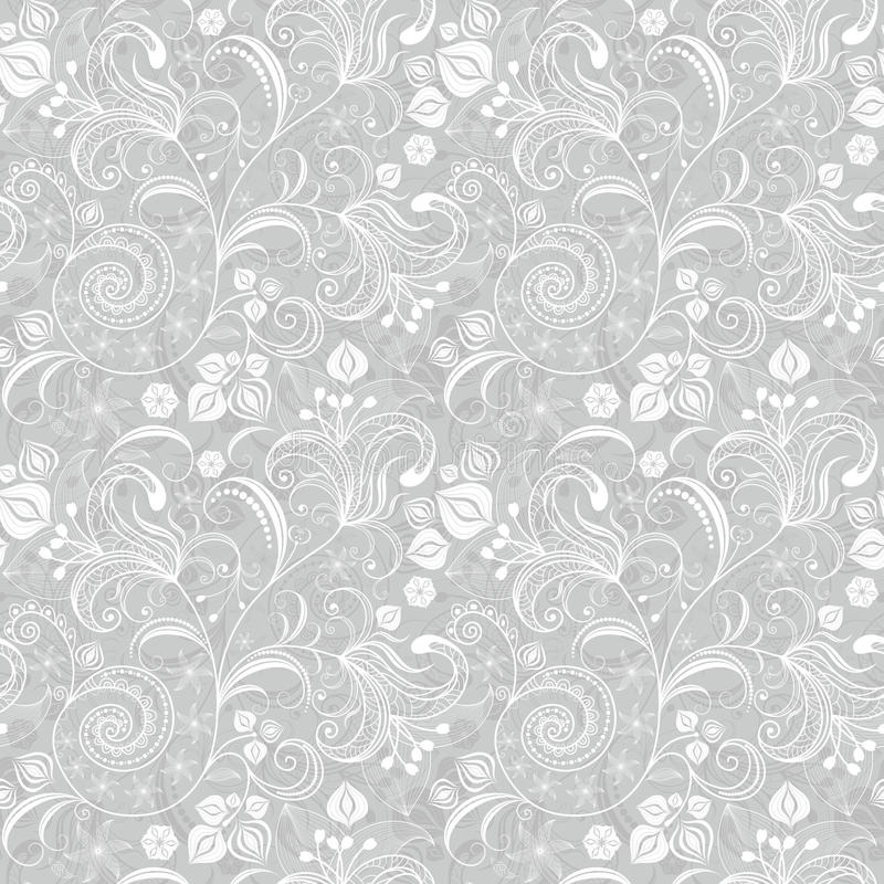 Seamless gray floral pattern royalty free illustration