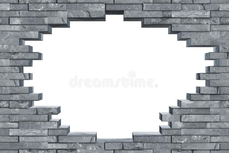 Seamless gray slate breakthrough hole wall texture royalty free stock image