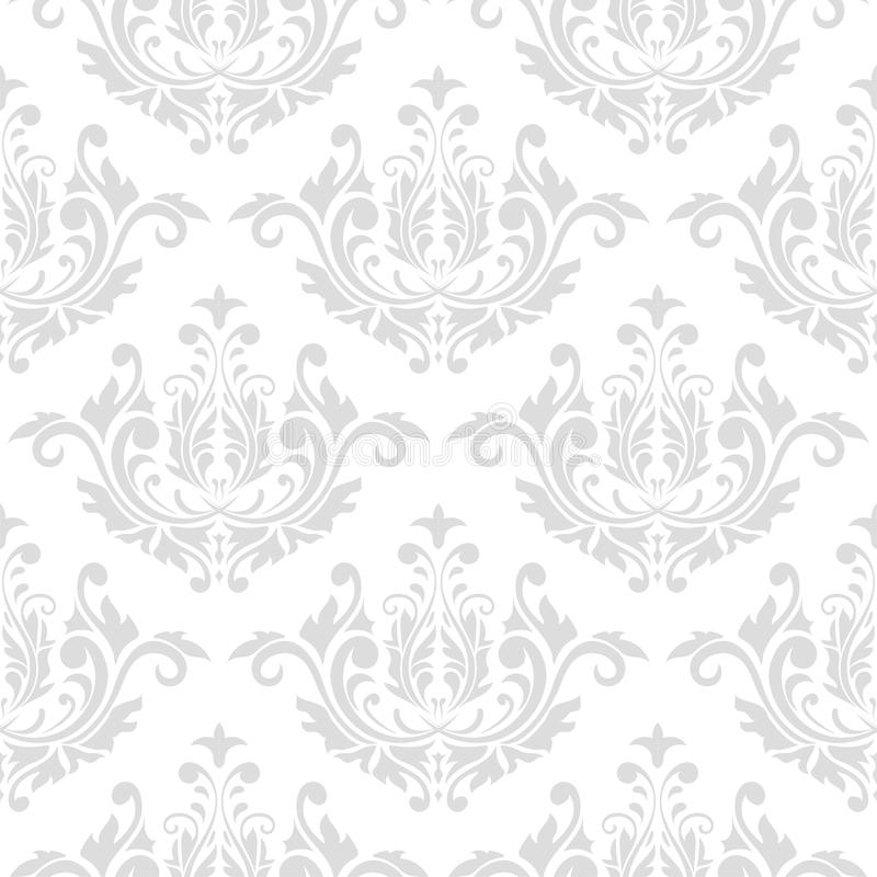 Seamless gray and white pattern with wallpaper ornaments royalty free illustration
