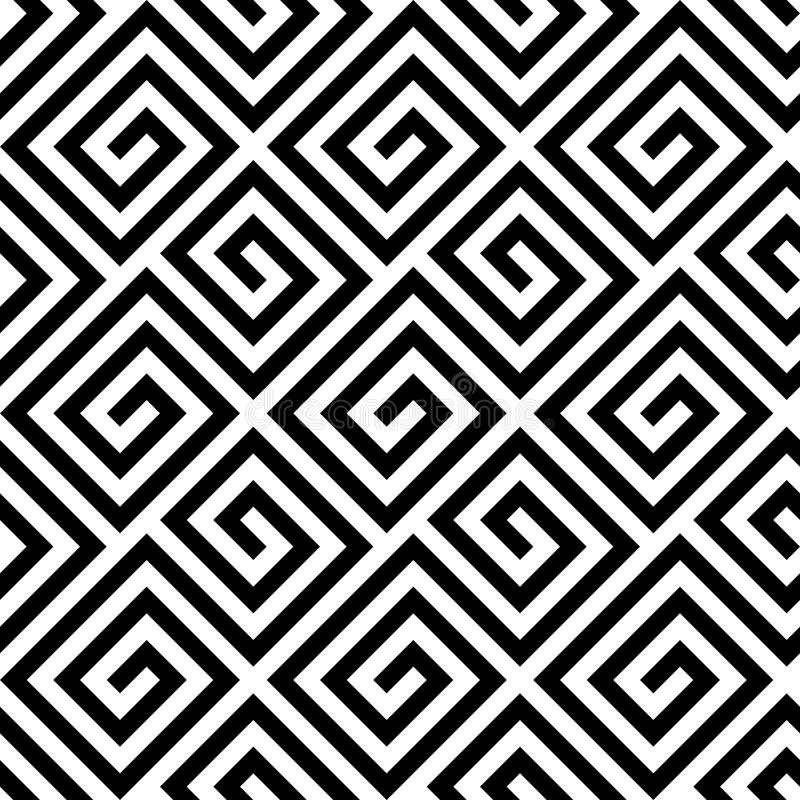 Seamless greek fret key pattern in black and white. Seamless background fret key pattern of in diagonal arrangement. Black and white greek retro style theme royalty free illustration