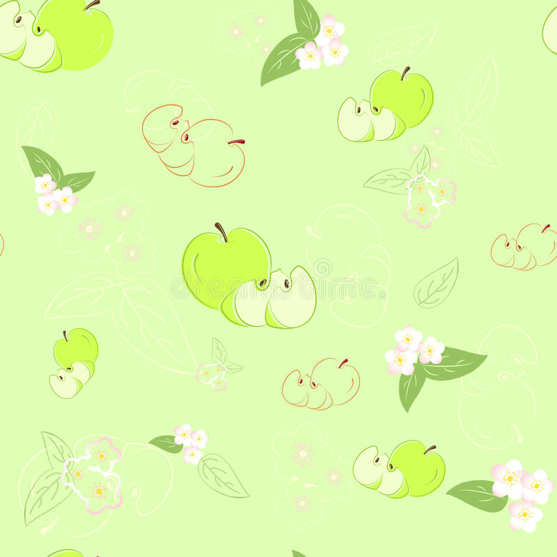 Download Seamless Green Background With Apples And Flowers. Stock Vector - Image: 25148862