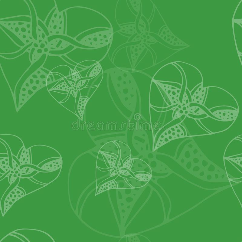 Seamless green heart pattern - valentine wrapping design. Valentines day wrapping paper. Seamless green heart pattern - valentine wrapping design. Girlish royalty free illustration