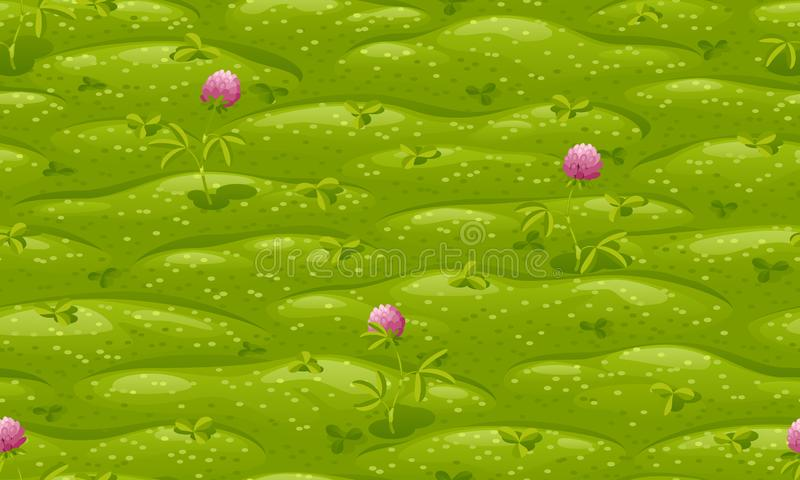 Seamless green lawn with pink flowering clover, vector background. Seamless green lawn with pink flowering clover, vector cartoon background stock illustration