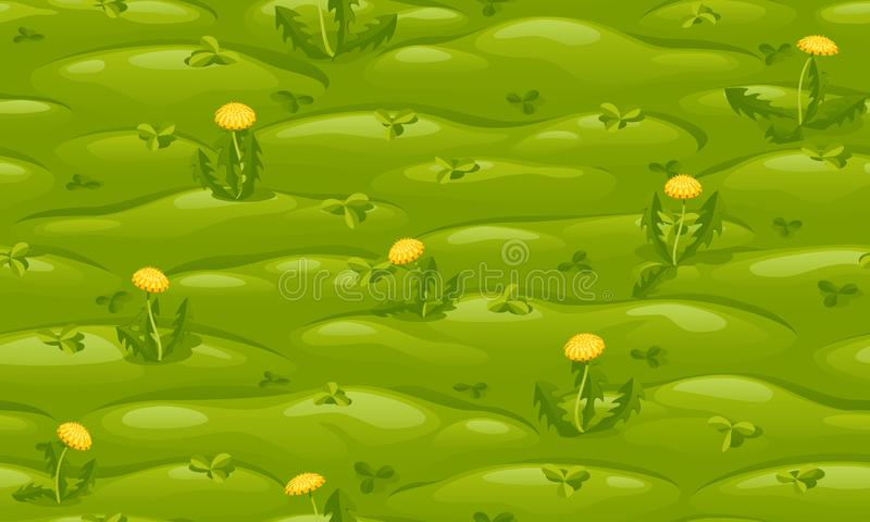 Seamless green lawn with yellow dandelions. Vector cartoon background royalty free illustration