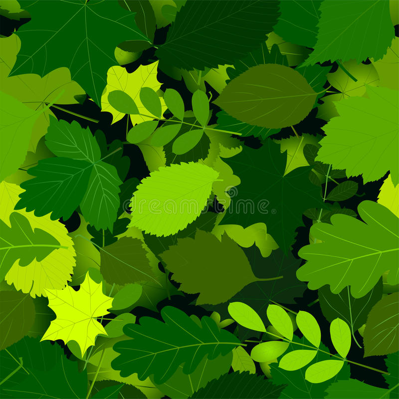 Seamless green leaves pattern royalty free illustration