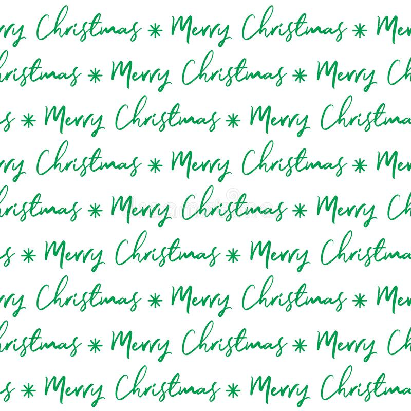 Seamless green Merry Christmas lettered on white background. Merry Christmas script with green color stock illustration