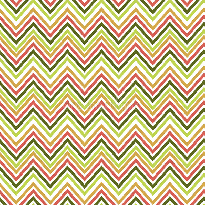 Seamless green and orange zig zag pattern. Vector illustrated retro background. Warping paper texture royalty free illustration