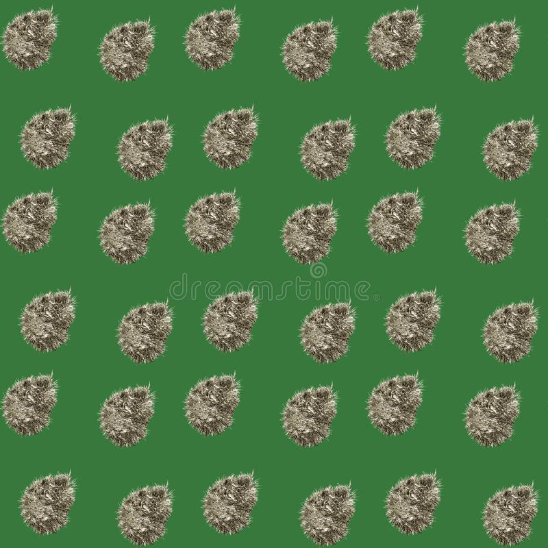 Seamless green pattern with silver tinsel. Seamless green background with silver tinsel, decoration, christmas, festive, celebration, new, glitter, holiday royalty free stock image
