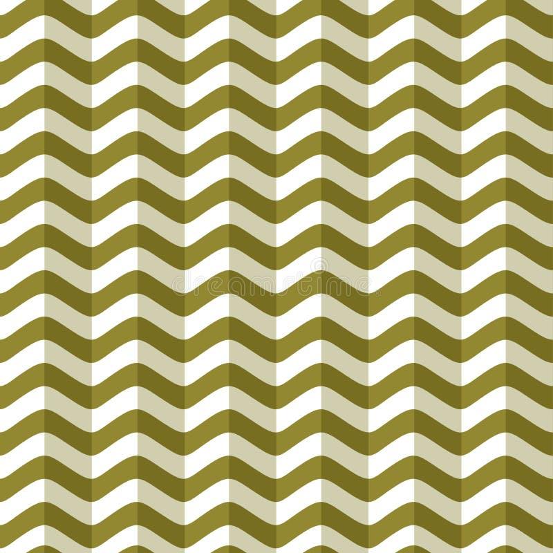 Seamless green pattern of stylized sea waves. Geometric background, texture. stock illustration