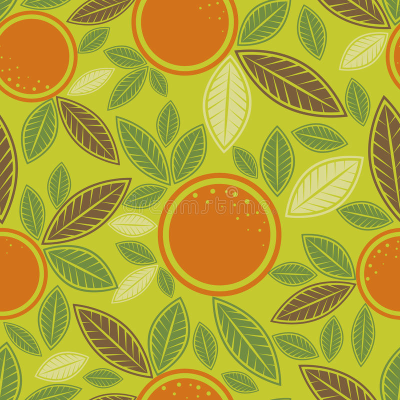 Free Seamless Green Pattern With Cute Oranges Royalty Free Stock Images - 15093709