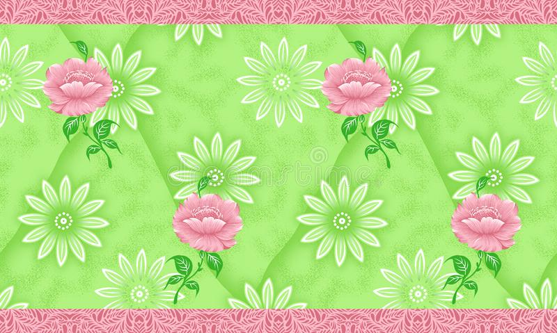 Seamless green traditional indian textile flower border royalty free illustration