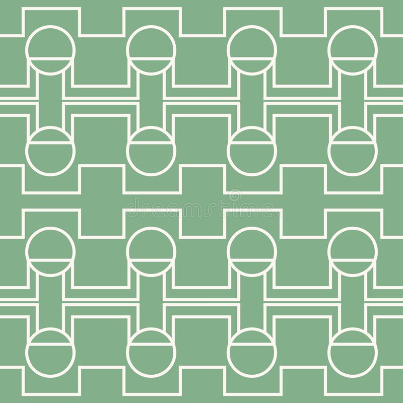 Seamless green and white pattern of rectangular shapes and circles stock illustration