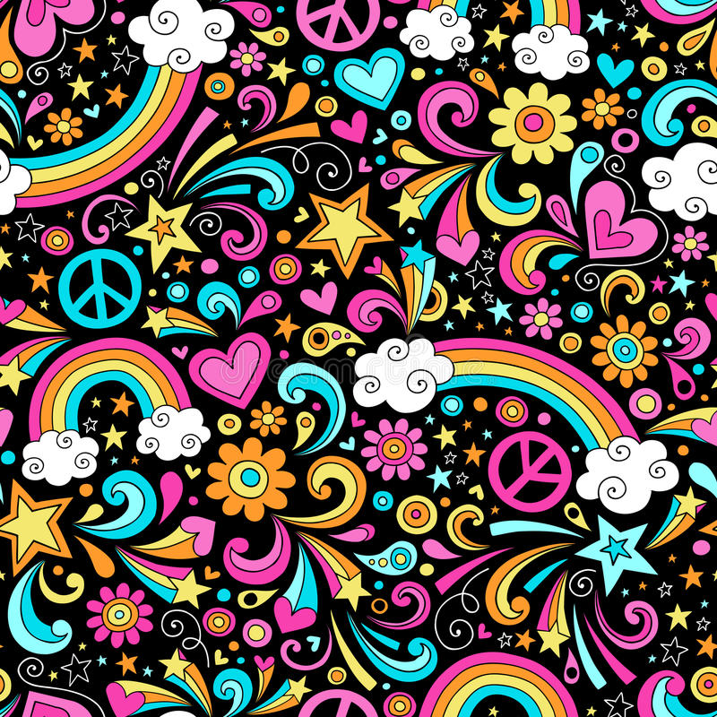 Seamless Groovy Rainbow Peace and Love Pattern Vec royalty free illustration