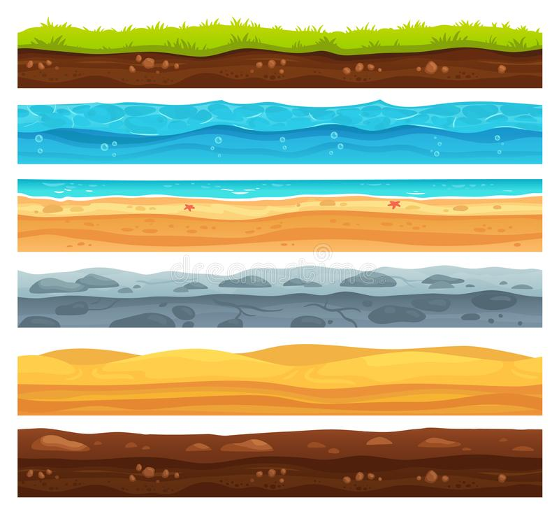 Seamless ground surface. Green grass land landscape, sandy desert and beach with sea water. Grounds layers vector. Seamless ground surface. Green grass land vector illustration