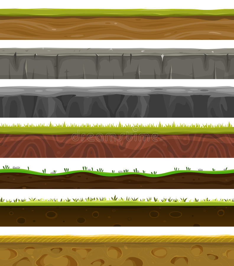 Seamless Grounds, Soil And Grass For Ui Game vector illustration
