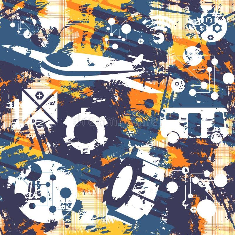 Seamless Grunge mönstrar Begrepp av transport vektor vektor illustrationer