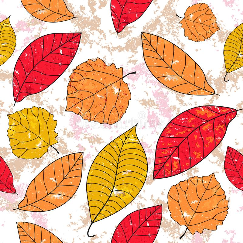 Seamless grunge pattern with autumn leaves with holes stock illustration