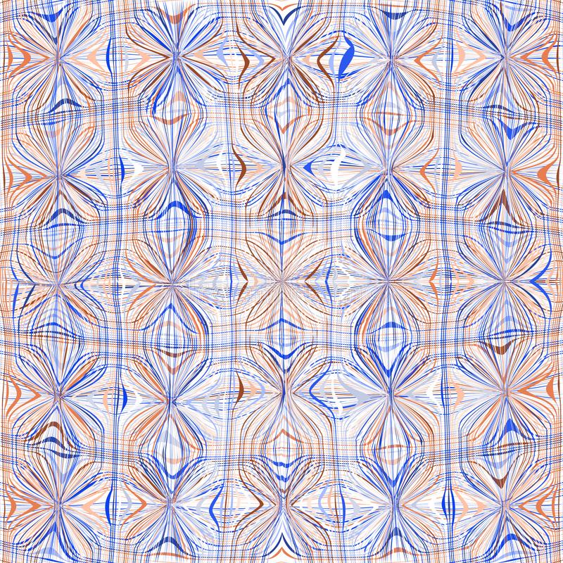 Seamless grunge striped and wavy geometric pattern in blue; orange; white; brown colors stock illustration