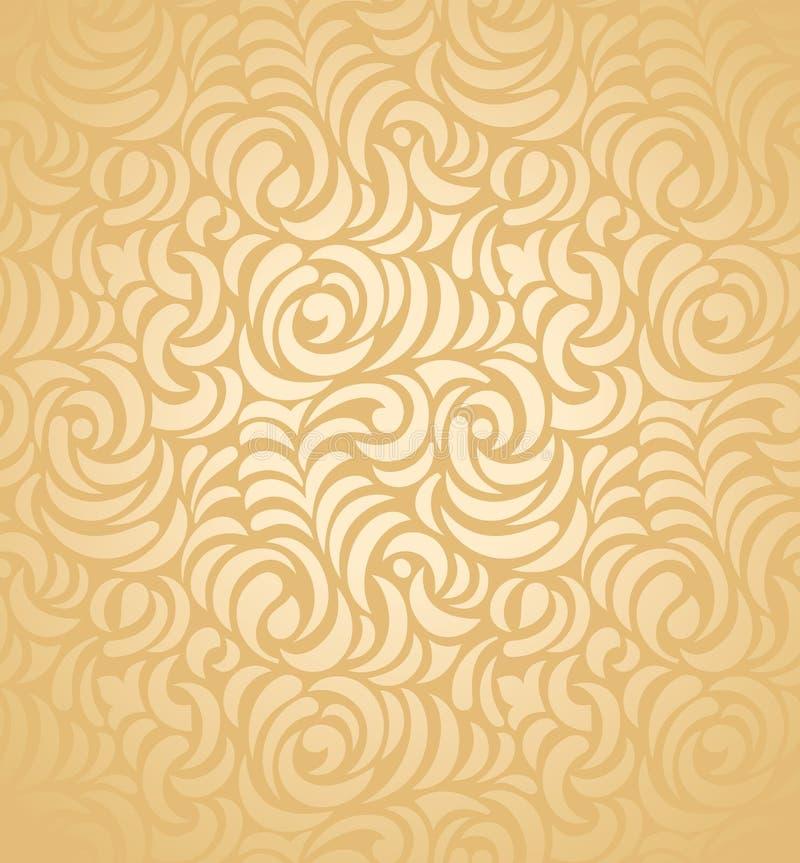Seamless guldbröllopkortbakgrund stock illustrationer