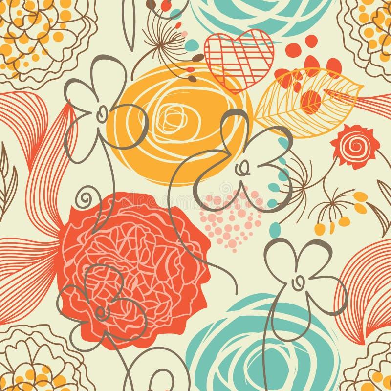 seamless gullig blom- modell vektor illustrationer