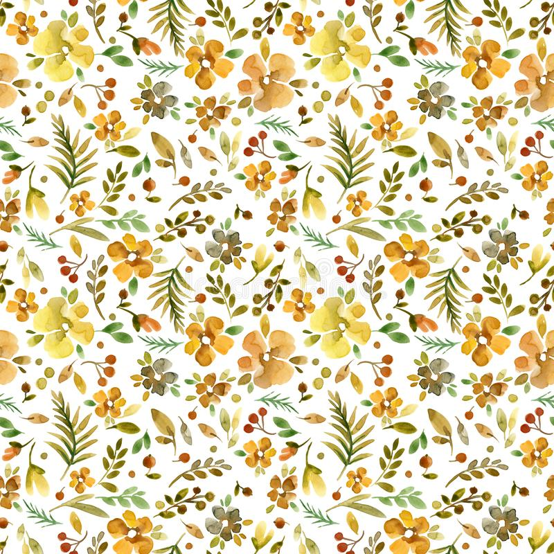 seamless gullig blom- modell Millefleur bakgrund vektor illustrationer