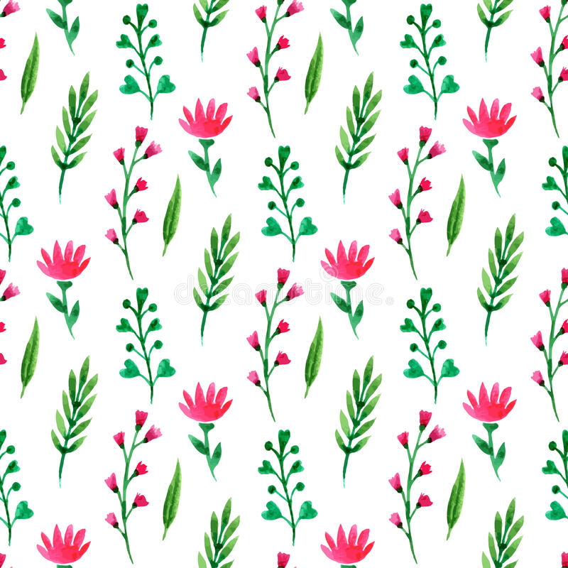seamless gullig blom- modell Sommarblommor, filialer och sidor Vektorvattenfärgmålning, för tapet som förpackar, textil vektor illustrationer